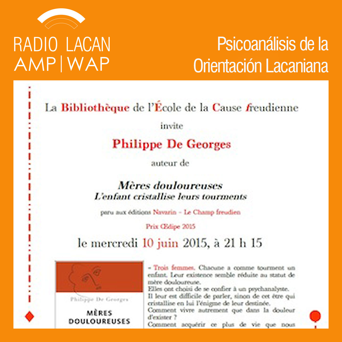 RadioLacan.com | <![CDATA[Noche de la Biblioteca de la ECF entorno al libro de Philippe de Georges: